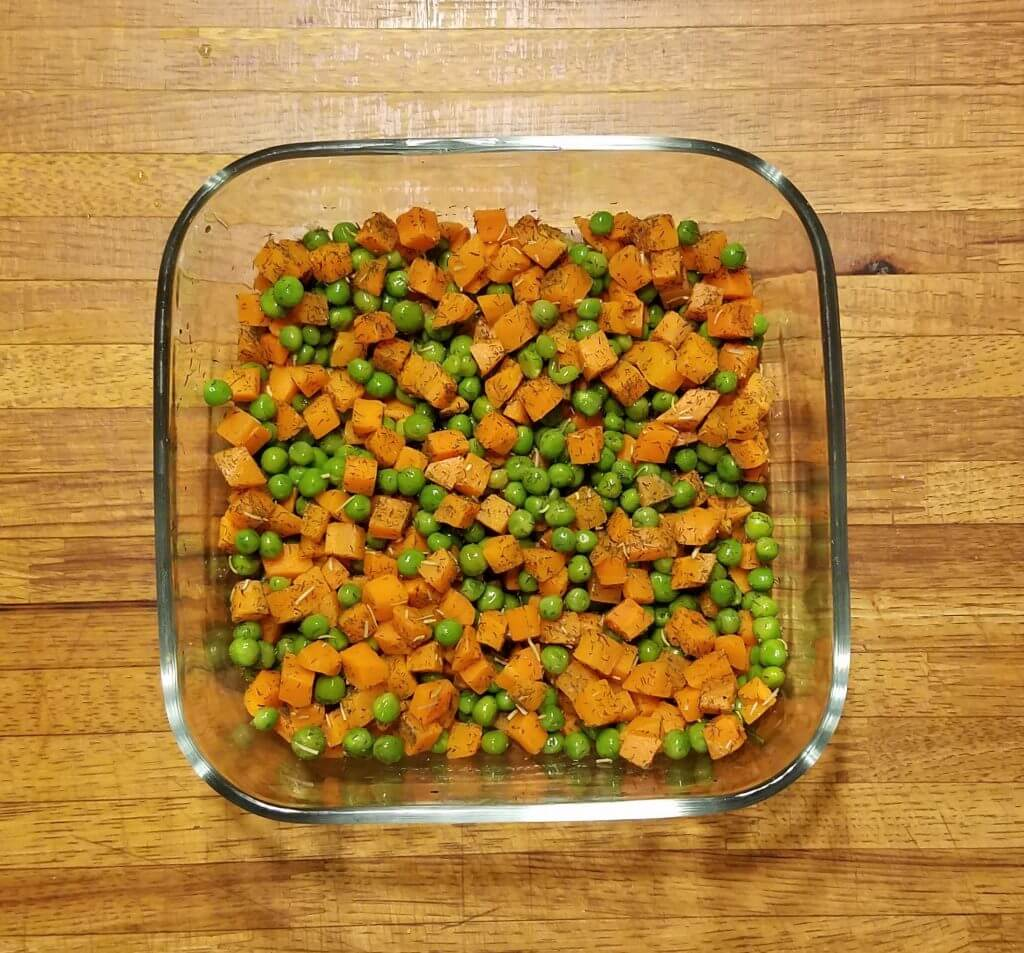 vegetables in glass dish