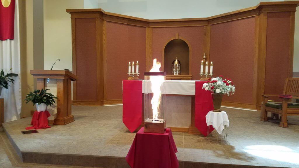 church altar decorated for Pentecost