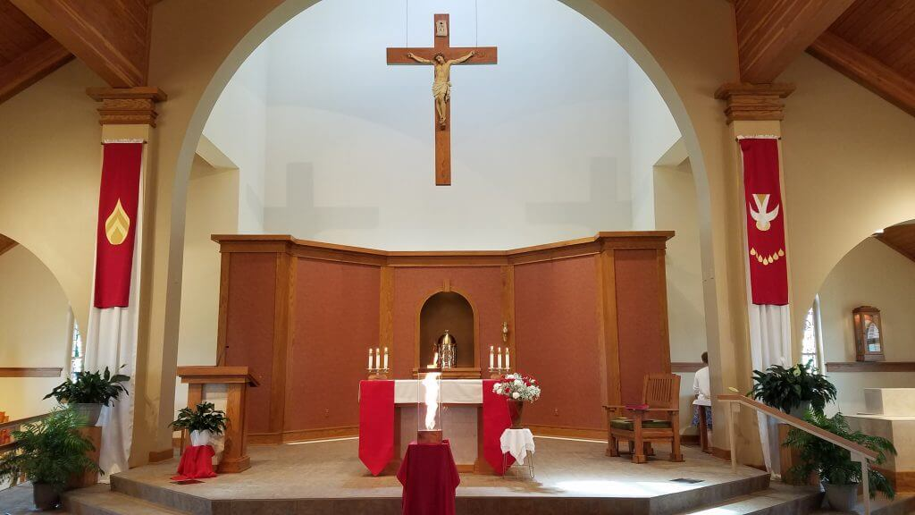 church decorated for Pentecost