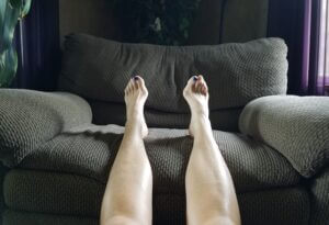 Feet up on a chair